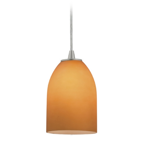 Access Lighting Access Lighting Sydney Inari Silk Brushed Steel Mini-Pendant with Oblong Shade 28018-1C-BS/AMB