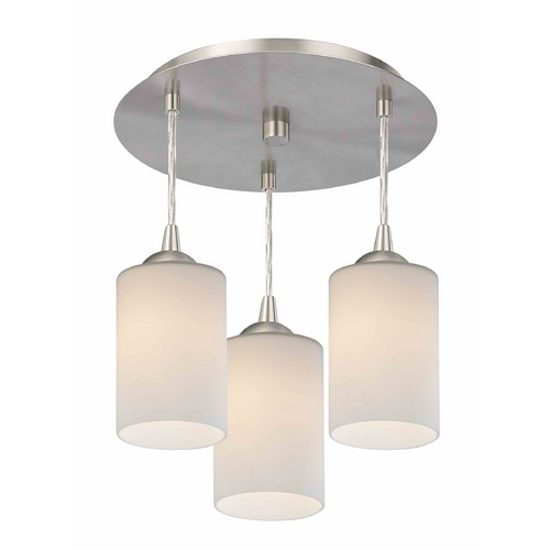Design Classics Lighting 3-Light Semi-Flush Ceiling Light with White Glass - Nickel Finish 579-09 GL1028C