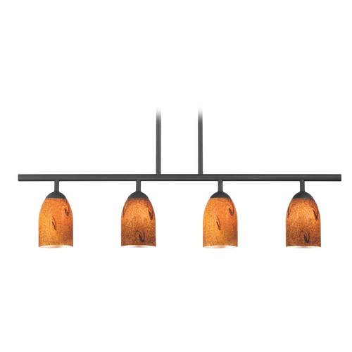 Design Classics Lighting Modern Island Light with Brown Glass in Matte Black Finish 718-07 GL1001D