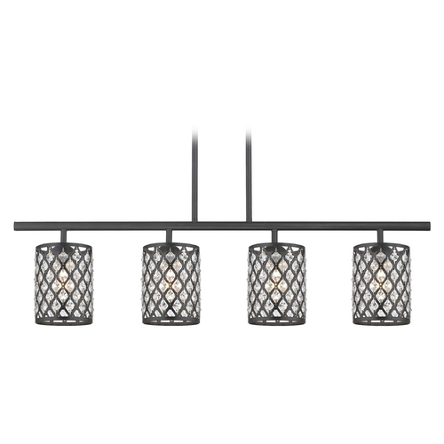 Design Classics Lighting Crystal Matte Black & Phoenix Island Light 718-07 GL1046-148