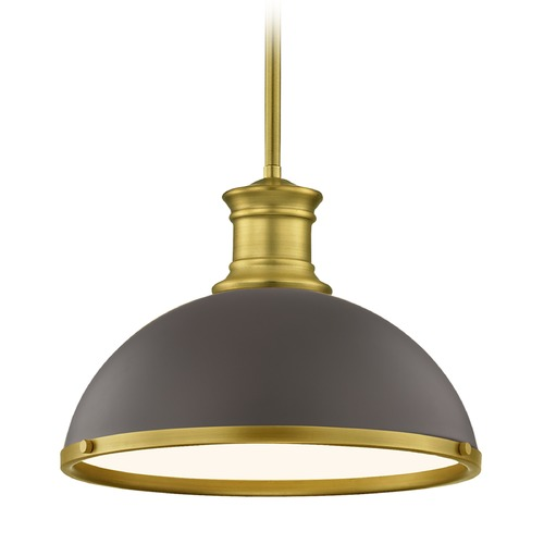 Design Classics Lighting Farmhouse Bronze Pendant Light with Brass 13.38-Inch Wide 1761-12 SH1776-220 R1776-12
