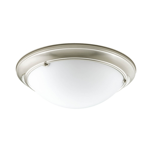 Progress Lighting Progress Flushmount Light with White Glass in Brushed Nickel Finish P7325-09WB