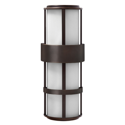 Hinkley Lighting Outdoor Wall Light with White Glass in Metro Bronze Finish 1909MT-GU24