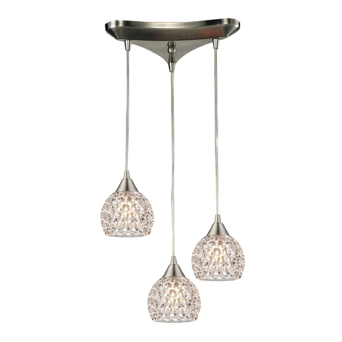 Elk Lighting Crystal Multi-Light Pendant Light with Clear Glass and 3-Lights 10341/3