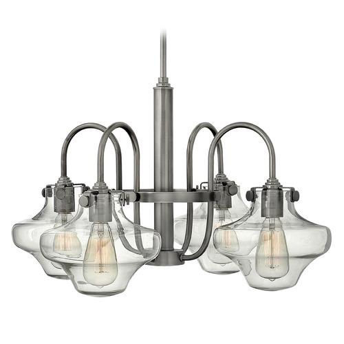 Hinkley Lighting Hinkley Congress 4-Light Chandelier with Clear Urn Glass in Antique Nickel 3041AN