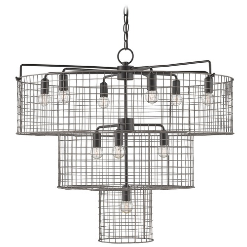 Currey and Company Lighting Currey and Company Hobhouse Satin Black/galvanized Chandelier 9941
