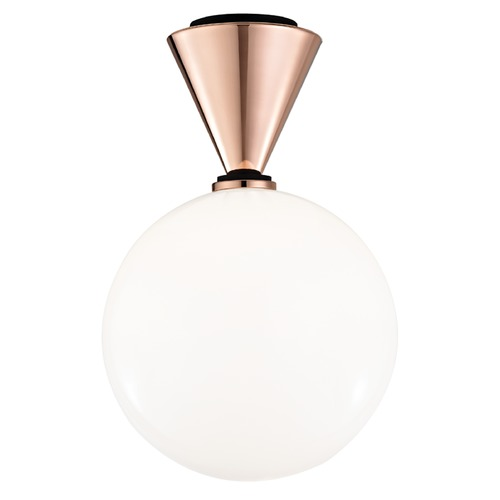 Hudson Valley Lighting Mid-Century Modern LED Flushmount Light Copper / Black Mitzi Piper by Hudson Valley H148501L-POC/BK