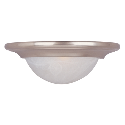Maxim Lighting Sconce Wall Light with White Glass in Satin Nickel Finish 8026MRSN