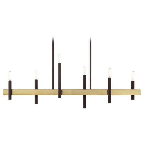 Livex Lighting Livex Lighting Denmark Bronze with Antique Brass Accents Chandelier 49336-07