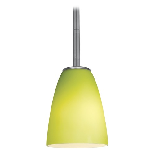 Access Lighting Modern Mini-Pendant Light with Green Glass 28022-1R-BS/LGR
