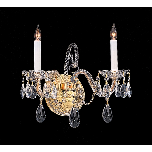 Crystorama Lighting Crystal Sconce Wall Light in Polished Brass Finish 5042-PB-CL-MWP