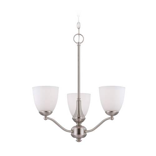 Nuvo Lighting Chandelier with White Glass in Brushed Nickel Finish 60/5036