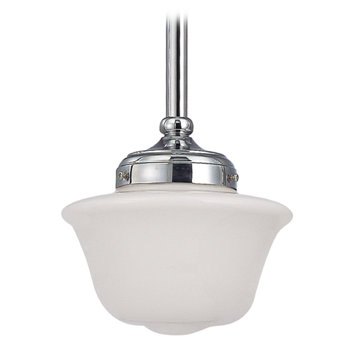 Design Classics Lighting 8-Inch Schoolhouse Mini-Pendant Light in Chrome Finish FA4-26 / GD8
