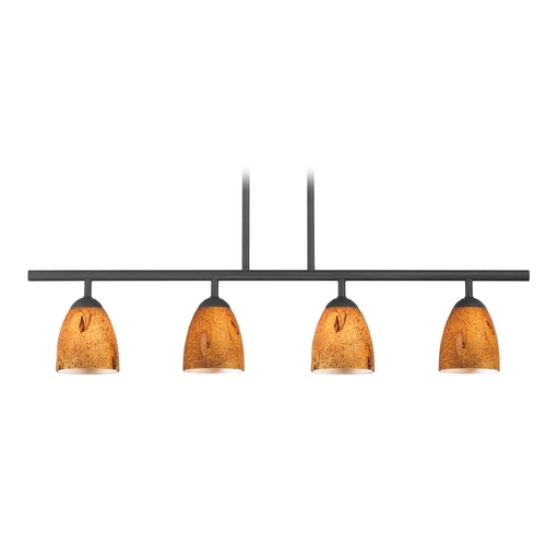 Design Classics Lighting Modern Island Light with Brown Glass in Matte Black Finish 718-07 GL1001MB