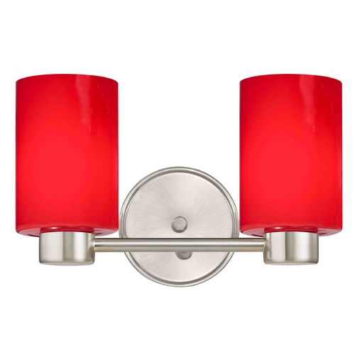 Design Classics Lighting Aon Fuse Modern Satin Nickel Bathroom Light with Cylinder Glass 1802-09 GL1008C