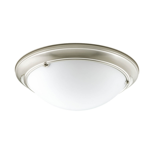 Progress Lighting Flushmount Light with White Glass in Brushed Nickel Finish P7326-09WB