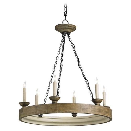 Currey and Company Lighting Currey and Company Lighting Reclaimed Wood / London Black / Smoke Wood Crackle Chandelier 9972