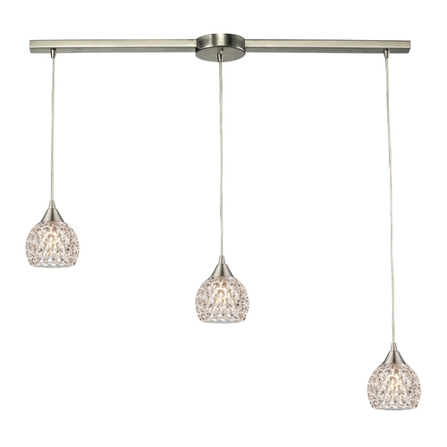 Elk Lighting Crystal Multi-Light Pendant Light with Clear Glass and 3-Lights 10341/3L