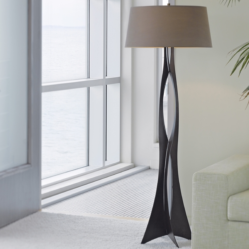 Hubbardton Forge Lighting Hubbardton Forge Lighting Moreau Dark Smoke Floor Lamp with Drum Shade 233070-07-819