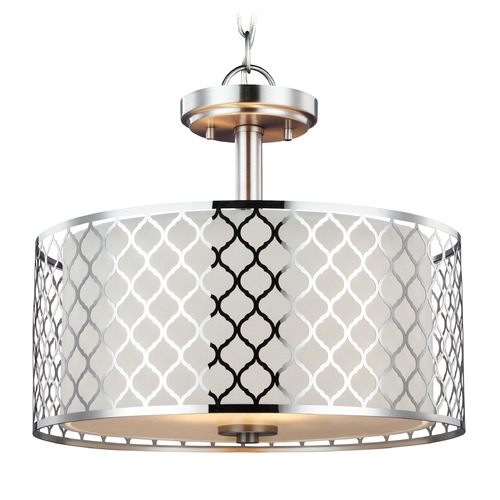 Sea Gull Lighting Sea Gull Lighting Jourdanton Brushed Nickel Pendant Light with Drum Shade 7715502-962