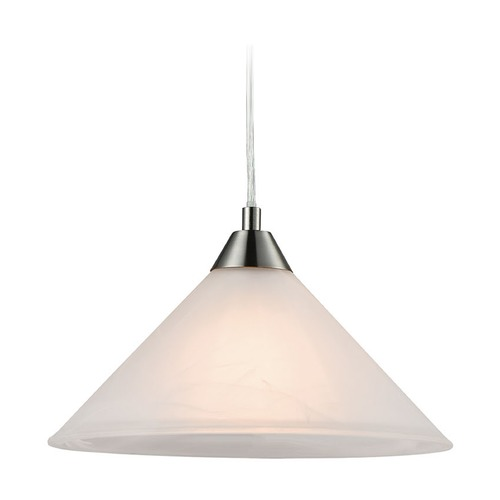 Elk Lighting Elk Lighting Elysburg Satin Nickel Pendant Light with Conical Shade 17630/1