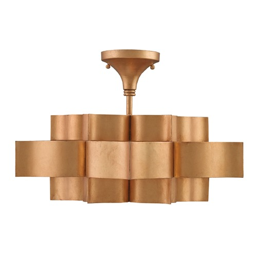 Currey and Company Lighting Currey and Company Grand Lotus Antiquegold Leaf Semi-Flushmount Light 9944