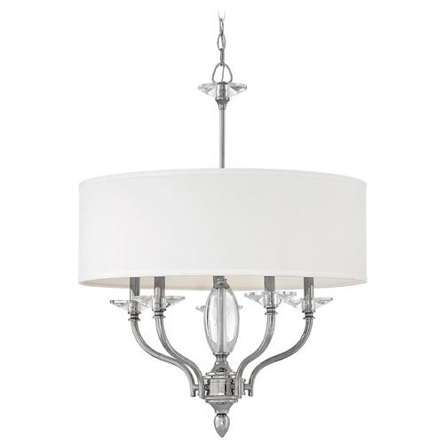 Hinkley Hinkley Surrey 5-Light Polished Nickel Chandelier with White Fabric Shades 4005PN