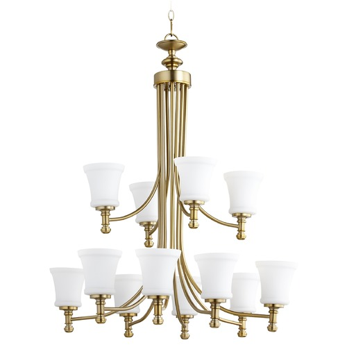 Quorum Lighting Quorum Lighting Rossington Aged Brass Chandelier 6122-12-80
