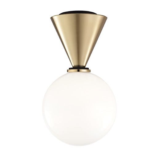 Hudson Valley Lighting Mid-Century Modern LED Flushmount Light Brass / Black Mitzi Piper by Hudson Valley H148501S-AGB/BK