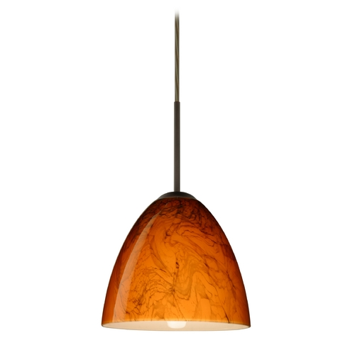Besa Lighting Modern Pendant Light with Orange Glass in Bronze Finish 1JT-4470HB-BR