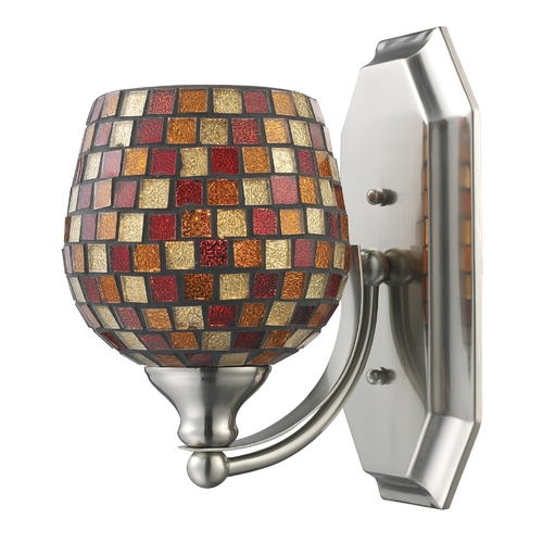 Elk Lighting Sconce with Art Glass in Satin Nickel Finish 570-1N-MLT