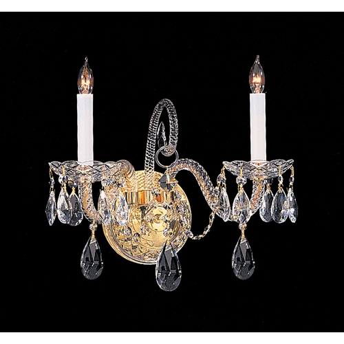 Crystorama Lighting Crystal Sconce Wall Light in Polished Brass Finish 5042-PB-CL-S