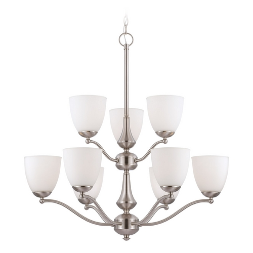 Nuvo Lighting Chandelier with White Glass in Brushed Nickel Finish 60/5039