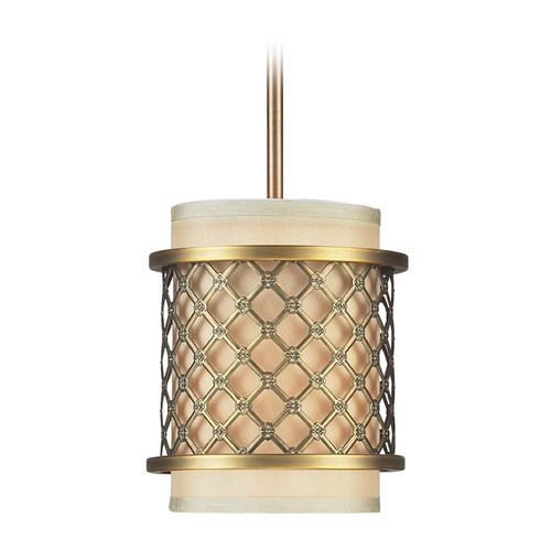 Elk Lighting Elk Lighting Chester Brushed Antique Brass Mini-Pendant Light with Cylindrical Shade 31032/1-LA