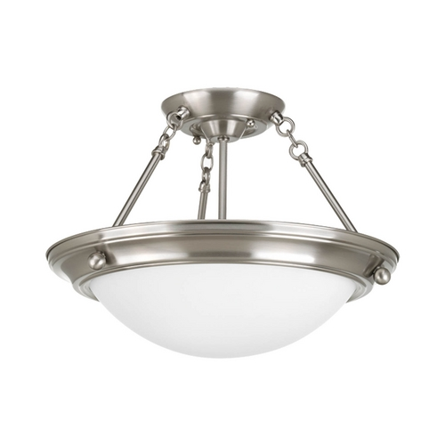 Progress Lighting Semi-Flushmount Light with White Glass in Brushed Nickel Finish P7327-09WB