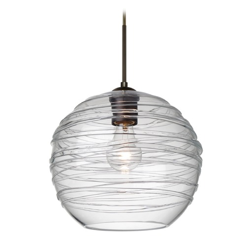 Besa Lighting Besa Lighting Wave Bronze Pendant Light with Globe Shade 1JT-462761-BR