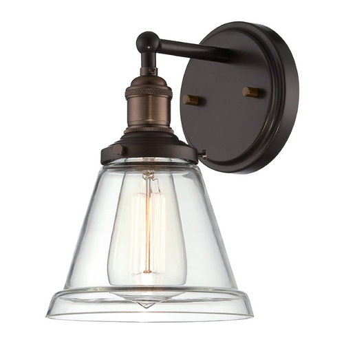 Nuvo Lighting Sconce Wall Light with Clear Glass in Rustic Bronze Finish 60/5512