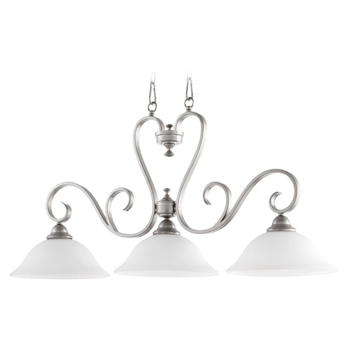 Quorum Lighting Quorum Lighting Celesta Classic Nickel Island Light with Bell Shade 6553-3-64