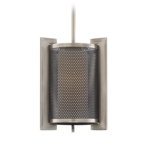 Quoizel Lighting Quoizel Lighting Metropolis Antique Nickel Mini-Pendant Light with Cylindrical Shade MTP1510AN