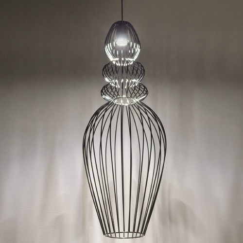 Besa Lighting Besa Lighting Whisper Black Pendant Light with Urn Shade 1XP-WHISPER-BK