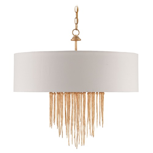 Currey and Company Lighting Currey and Company Zareen Gold Pendant Light with Drum Shade 9946