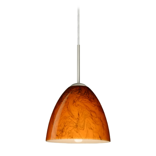 Besa Lighting Modern Pendant Light with Orange Glass in Satin Nickel Finish 1JT-4470HB-SN