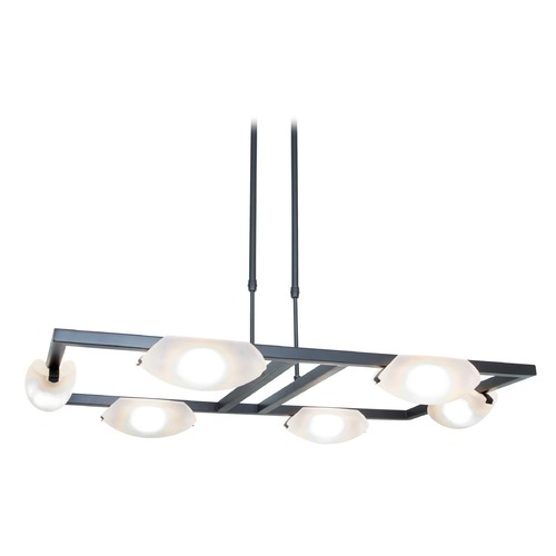 Access Lighting Access Lighting Modern 6-Light Chandelier with White Glass in Oil Rubbed Bronze 63962-ORB/FST