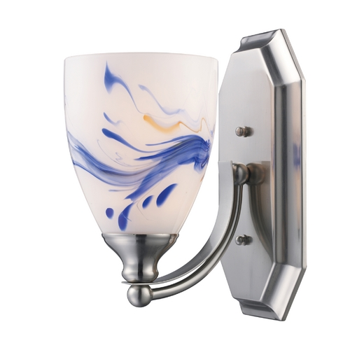 Elk Lighting Sconce with Art Glass in Satin Nickel Finish 570-1N-MT