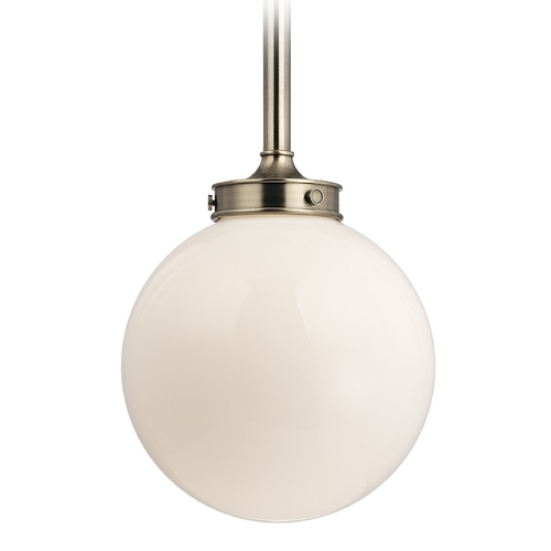 Hudson Valley Lighting Modern Pendant Light with White Glass in Historic Nickel Finish 8817-HN