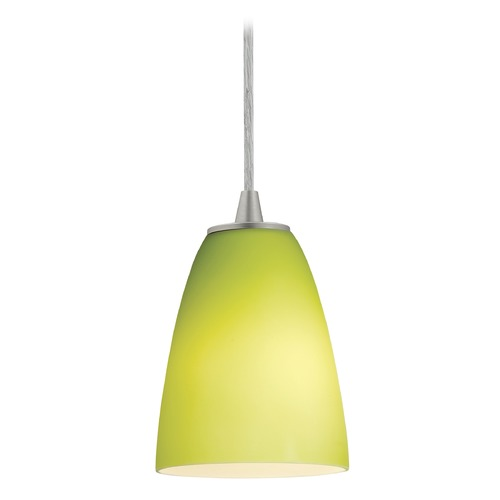 Access Lighting Modern Mini-Pendant Light with Green Glass 28022-1C-BS/LGR