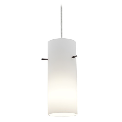 Access Lighting Access Lighting Sydney Cylinder Brushed Steel Mini-Pendant with Cylindrical Shade 28030-1C-BS/OPL