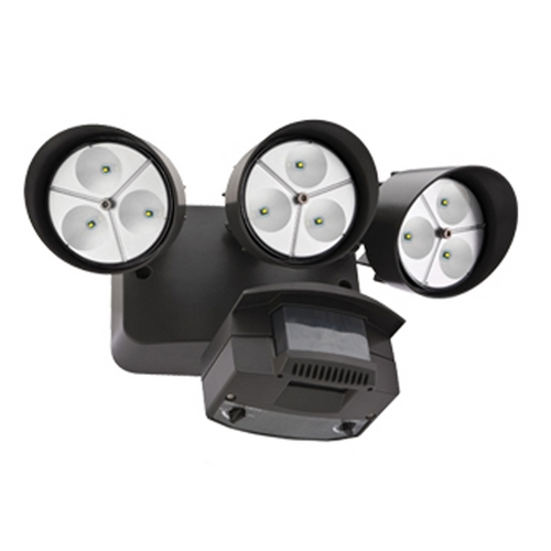 Lithonia Lighting LED Motion Activated Flood Light with Photocell and Three Lights OFLR 9LN 120 P BZ M2