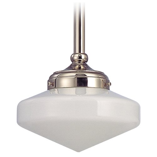 Design Classics Lighting 8-Inch Nickel Schoolhouse Mini-Pendant Light FA4-15 / GE8