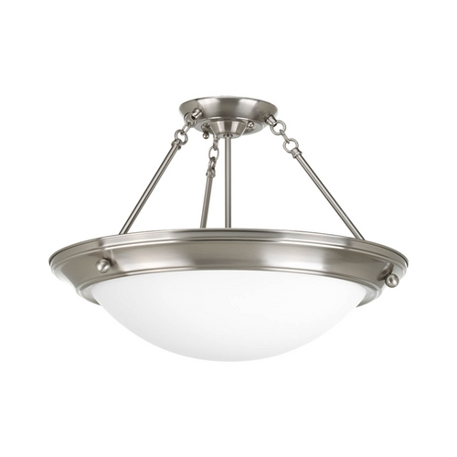 Progress Lighting Semi-Flushmount Light with White Glass in Brushed Nickel Finish P7328-09WB